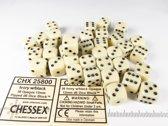 Chessex dobbelstenen set, 36 6-zijdig 12 mm, ivoorkleurig