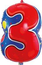 3 Jaar Folie/Helium Cijfer Ballon - 56cm