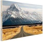 Weg naar de bergen Hout 160x120 cm - Foto print op Hout (Wanddecoratie) XXL / Groot formaat!