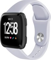 123Watches.nl Siliconen bandje - Fitbit Versa - Grijs - S/M