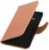 Wicked Narwal | Snake bookstyle / book case/ wallet case Hoes voor Samsung galaxy j1 2015 Ace Licht Roze