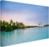 Palmbomen in de tropische oceaan Canvas 180x120 cm - Foto print op Canvas schilderij (Wanddecoratie woonkamer / slaapkamer) XXL / Groot formaat! / Zee en Strand