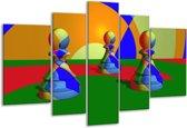 Glasschilderij Spel | Groen, Blauw, Rood | 170x100cm 5Luik | Foto print op Glas |  F004072