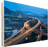 Drukke snelwegen doorkruisen elkaar in de Chinese stad Fuzhou Vurenhout met planken 30x20 cm - klein - Foto print op Hout (Wanddecoratie)