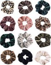 Scrunchie 12 stuks Velvet extra Vol en Luxe - haarwokkel haarelastiek- scrunchies mega pack natural colors - Kraagjeskopen.nl