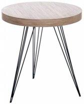 Duverger - Retro - Bijzettafel - rond - hout - smeedijzer - 55x55x60cm