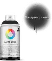 MTN transparant zwarte spuitbus op waterbasis - 300ml lage druk en matte afwerking spuitverf - Kindvriendelijke verf geschikt voor binnen en buiten gebruik, voor vele doeleinden, zoals klussen, graffiti, hobby en kunst