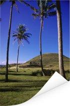 Groene natuur bij Anakena Beach in Chili Poster 40x60 cm - Foto print op Poster (wanddecoratie woonkamer / slaapkamer)