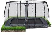 EXIT Supreme groundlevel trampoline 214x366cm met veiligheidsnet - grijs