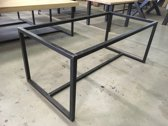 Frame Middenligger Laag| 200x100 | Koker 40x40| Zwart structuur| Industrieel Tafelonderstel