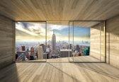 Fotobehang Window City Skyline Empire State NewYork | XXL - 312cm x 219cm | 130g/m2 Vlies