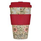 Ecoffee Cup Bamboe Beker - 400 ml WM Corncockle met Rood Siliconen