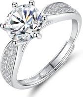 Zilveren ring grote steen