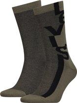 Levis - Unisex 2-Pack Micro Stripe Logo Sokken Groen Zwart - 39-42