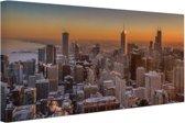 Chicago bij nacht Canvas 30x20 cm - Foto print op Canvas schilderij (Wanddecoratie)