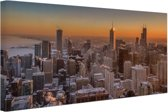 FotoCadeau.nl - Chicago bij nacht Canvas 30x20 cm - Foto print op Canvas schilderij (Wanddecoratie)