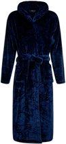 Flanel fleece badjas - marineblauw - capuchon maat L/XL