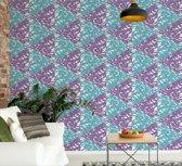 Fotobehang Modern Geometric Triangle Pattern Pink Blue   VEA - 206cm x 275cm   130gr/m2 Vlies
