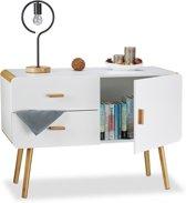 relaxdays tv-meubel Scandinavisch - dressoir in het wit - kommode  met afgeronde hoeken