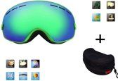 Ski bril + hard case lens Smoke Green frame Groen F type 5 Cat. 0 tot 4 - ☀/☁ extra lens is optie.