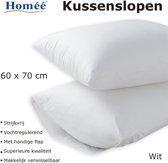 Homéé - Kussenslopen Wit 100% Katoenen | set van 4 stuks | 60x70/17cm