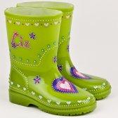 Leuk kado met naam kinder regenlaarzen  hartje maat 20 - groen