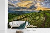 Fotobehang vinyl - Een prachtig wolkenveld boven de rijstvelden van Thailand breedte 360 cm x hoogte 240 cm - Foto print op behang (in 7 formaten beschikbaar)