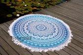 Bohemida Roundie - XL Blue Ombre Franjes- Strandlaken - 100 % Duurzaam Katoen