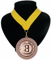 Kampioensmedaille nr. 3 aan geel lint
