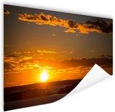 Zonsondergang met wolken Poster 60x40 cm - Foto print op Poster (wanddecoratie)