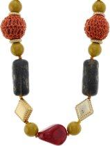 Lange ketting met multi-color stenen en gehaakte kralen