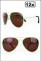 12x Pilotenbril fluo Groen