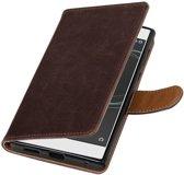 Sony Xperia L1 Mocca   Premium TPU PU Leder bookstyle / book case/ wallet case    WN™