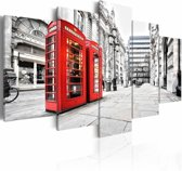 Canvas Schilderij - Straat in Londen, Rood/Zwart-Wit, 2 Maten, 5luik