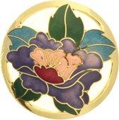 Behave® Dames broche rond met bloem paars en goud-kleur