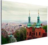Uitzicht over Praag Aluminium 60x40 cm - Foto print op Aluminium (metaal wanddecoratie)