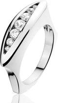 Montebello Ring Astrid - Dames - Zilver Gerhodineerd - Zirkonia - 6 mm - Maat 54 - 17.2