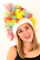 Fur hoed rood/blauw/geel opgemaakt inclusief verlichting