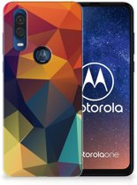 TPU Hoesje Motorola One Vision Polygon Color