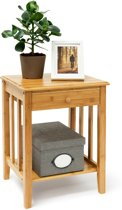 relaxdays - bijzettafel met lade bamboe - nachtkastje - telefoontafel console