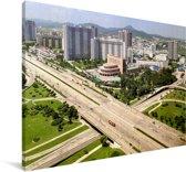 Viaduct bij de stad Pyongyang in Noord-Korea Canvas 180x120 cm - Foto print op Canvas schilderij (Wanddecoratie woonkamer / slaapkamer) XXL / Groot formaat!