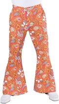 Hippie Kostuum   Hippie Broek Paisley Oranje Man   XL   Carnaval kostuum   Verkleedkleding