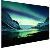 Ongelooflijke noorderlicht in Noorwegen Aluminium 60x40 cm - Foto print op Aluminium (metaal wanddecoratie)