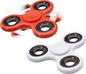 relaxdays 2 x Fidget Spinner - tri-spinner 58 g - hand spinner - anti-stress rood en wit