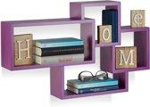 relaxdays wandbox kubus - wandboard 4 vakken - blinde montage - modern design wandelement violet