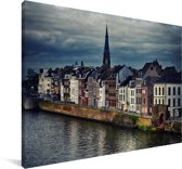 Skyline van de huizen in Maastricht Canvas 120x80 cm - Foto print op Canvas schilderij (Wanddecoratie woonkamer / slaapkamer) / Europese steden Canvas Schilderijen