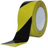 Afzetlint geel zwart geblokt afzetlint – scheurvast – 500 meter rol - 8 cm breed