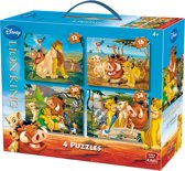 Disney 4 in 1 Puzzel Lion King - Vier Kinderpuzzels in een Koffertje - King
