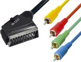 Transmedia Scart (m) - Component 3RCA + Composiet RCA (m) kabel / zwart - 3 meter