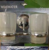 Wellwater Verona Bekerhouder dubbel met glas chroom